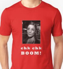 Chk chk boom With Clares Picture - white text Unisex T-Shirt