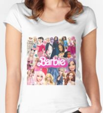 Barbie Doll Collage Women's Fitted Scoop T-Shirt