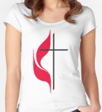 Methodist Cross & Flame Fitted Scoop T-Shirt