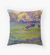 Morning Field with Cows Throw Pillow