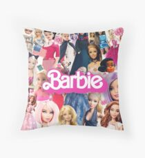 Barbie Doll Collage Throw Pillow