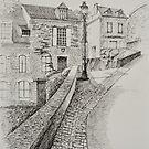 Hautefort Wall Freehand Ink Sketch by Dai Wynn