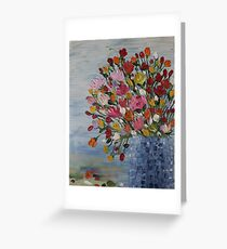 Flowers in Blue Crystal Vase - oil on canvas Greeting Card