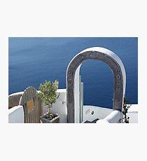 A DOOR ON THE AEGEAN SEA, SANTORINI Photographic Print