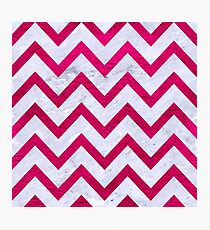 CHEVRON9 WHITE MARBLE & PINK LEATHER (R) Photographic Print