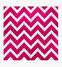 CHEVRON9 WHITE MARBLE & PINK LEATHER Photographic Print