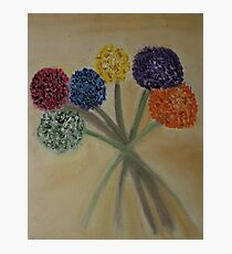 Six Flowers with Stems - oil on canvas  Photographic Print