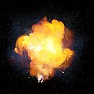 Realistic bright fiery bomb explosion with sparks and smoke by Lukasz Szczepanski