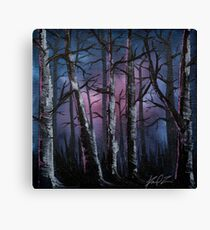 Into the woods, night forest oil painting Canvas Print