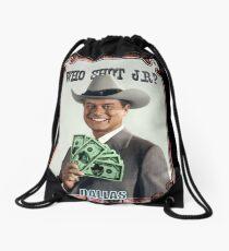 Who shot JR? Drawstring Bag