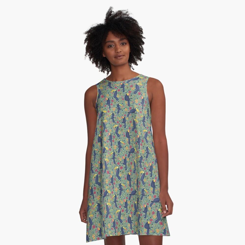 Pattern 83 - Toucans and parrots tropical dream  A-Line Dress Front