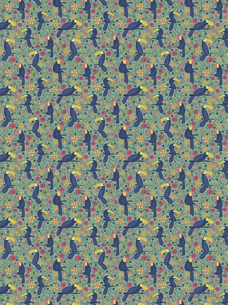 Pattern 83 - Toucans and parrots tropical dream  by IreneSilvino
