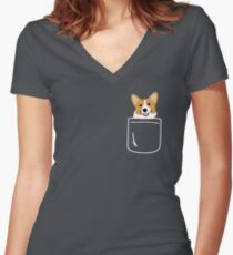 Corgi In Pocket Funny Cute Puppy Big Happy Smile Women's Fitted V-Neck T-Shirt