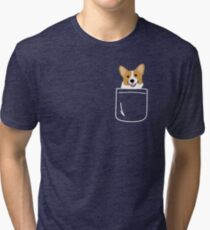 Camiseta de tejido mixto Corgi In Pocket Funny Cute Puppy Big Happy Smile