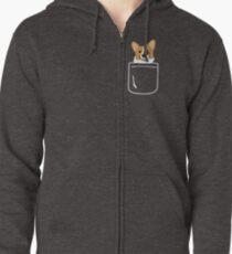 Corgi im Taschen-lustigen netten Welpen-großen glücklichen Lächeln Hoodie mit Reißverschluss