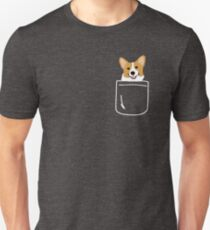 Camiseta ajustada Corgi In Pocket Funny Cute Puppy Big Happy Smile