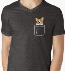 Corgi im Taschen-lustigen netten Welpen-großen glücklichen Lächeln T-Shirt mit V-Ausschnitt