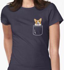 Corgi im Taschen-lustigen netten Welpen-großen glücklichen Lächeln Tailliertes T-Shirt für Frauen