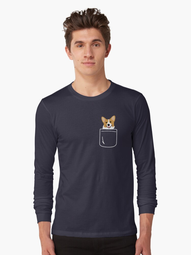 Corgi In Pocket Funny Cute Puppy Big Happy Smile Long Sleeve T-Shirt Front