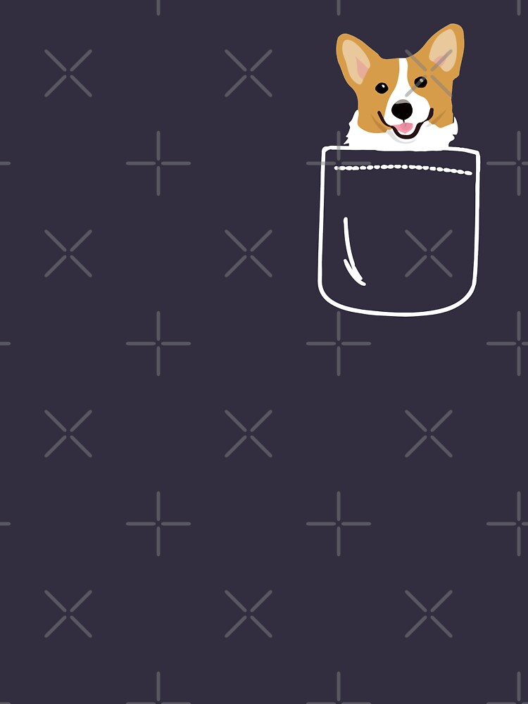 Corgi In Pocket Funny Cute Puppy Big Happy Smile by JapaneseInkArt