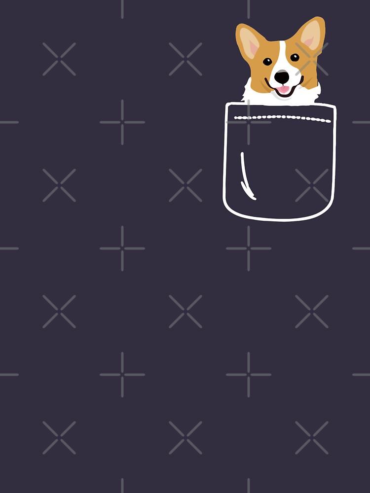 Corgi im Taschen-lustigen netten Welpen-großen glücklichen Lächeln von JapaneseInkArt