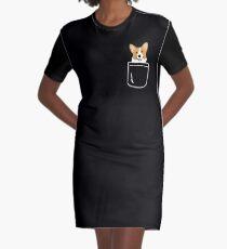 Corgi im Taschen-lustigen netten Welpen-großen glücklichen Lächeln T-Shirt Kleid