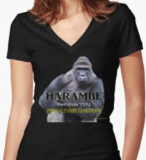 Harambe the Gorilla Women's Fitted V-Neck T-Shirt
