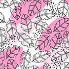 Tropical illustration with monstera leaves in bright pink colors. Memphis styled design. by yashroom