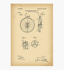 1900 Patent Velocipede Bicycle Unicycle history invention Photographic Print