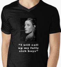 Fully sick boys - black and white and white text Men's V-Neck T-Shirt
