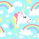 Smiling Unicorn and Rainbows by Pamela Maxwell