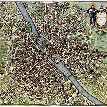 Paris old map 17th century by PineLemon
