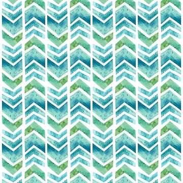 Watercolour Chevron Pattern, turquoise, green and white by HazelFisher
