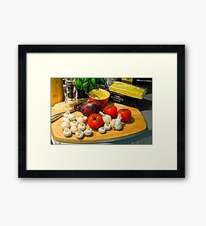 Still Life: Dinner in the Making: Lasagne Framed Print