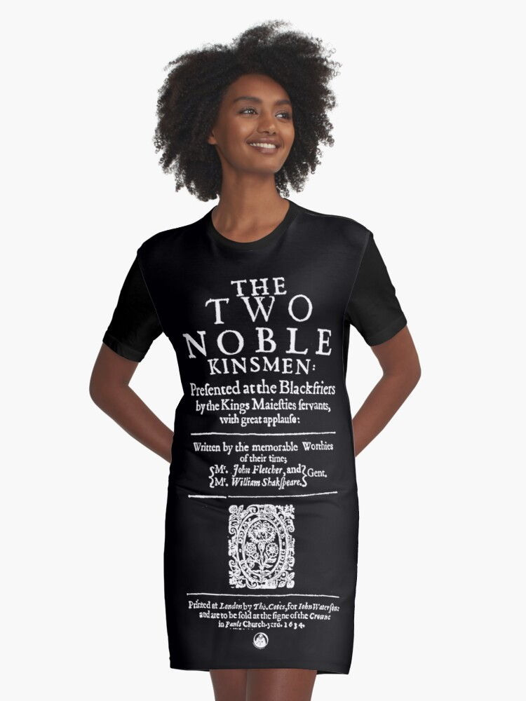 bceeae26925f Shakespeare The Two Noble Kinsmen Frontpiece - Simple White Text Graphic T-Shirt  Dress