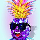 Pineapple Hipster Ultraviolet Happy Dude with Sunglasses   by BluedarkArt