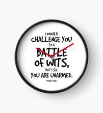 Battle of Wits Quote - Mark Twain Clock