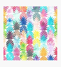 Hawaiian Pineapple Pattern Tropical Watercolor Photographic Print