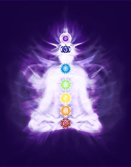 Yoga Meditation With Chakras Symbols And Energy Flow On Human Body