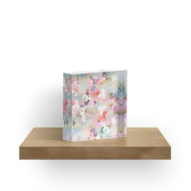 lsquo romantic pink teal watercolor chic floral pattern  acrylic block by  girlytre. a4d5a76dee