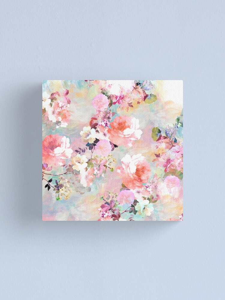 Alternate view of Romantic Pink Teal Watercolor Chic Floral Pattern Canvas Print