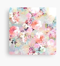 Romantic Pink Teal Watercolor Chic Floral Pattern Metal Print