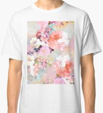 Romantic Pink Teal Watercolor Chic Floral Pattern Classic T-Shirt