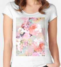 Romantic Pink Teal Watercolor Chic Floral Pattern Women's Fitted Scoop T-Shirt