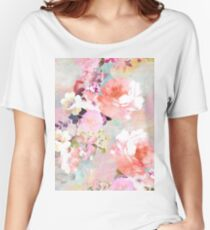 Romantic Pink Teal Watercolor Chic Floral Pattern Women's Relaxed Fit T-Shirt