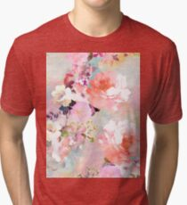 Romantic Pink Teal Watercolor Chic Floral Pattern Tri-blend T-Shirt