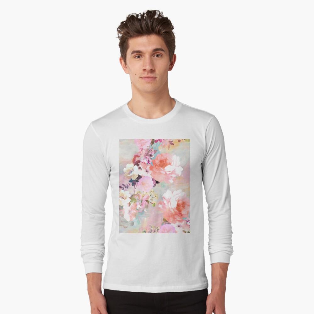 Romantisches rosa aquamarines Aquarell-schickes Blumenmuster Langarmshirt