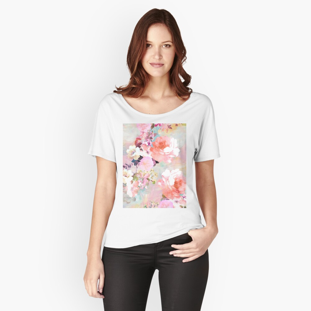 Romantisches rosa aquamarines Aquarell-schickes Blumenmuster Loose Fit T-Shirt