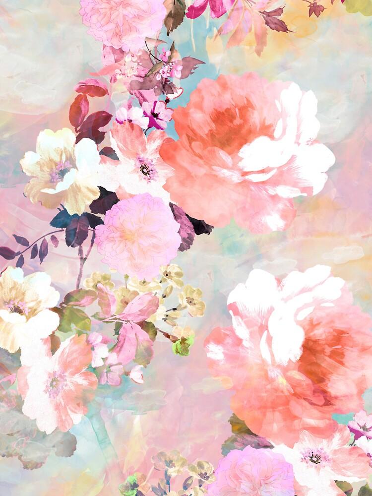 Romantisches rosa aquamarines Aquarell-schickes Blumenmuster von GirlyTrend