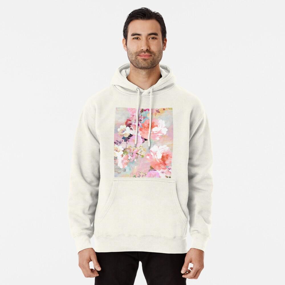 Romantisches rosa aquamarines Aquarell-schickes Blumenmuster Hoodie